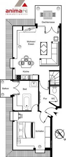 Grundriss einer schön geschnittenen 2 Zimmer Dachgeschoss Wohnung