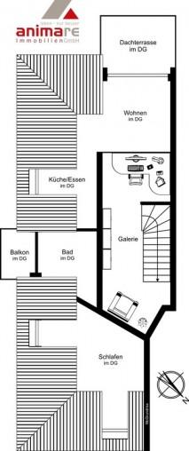 Grundriss der Galerie einer 2 Zimmer Wohung unter dem Dach