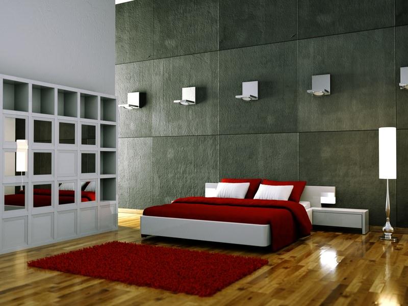 Schlafzimmer weiss rot mit Beleuchtung